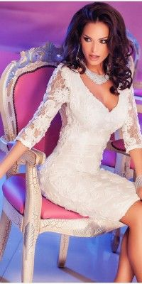 Elegant #Club Long Sleeve #Mini #White #Lace Dresses
