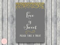 Love is sweet take a treat sign Instant Download by BrideandBows
