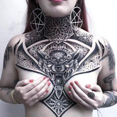 Geometric Throat Tattoo, Tribal Neck Tattoos, Neck Tattoos Women, Chest Tattoos For Women, Head Tattoos, Geometric Tattoo Chest, Full Chest Tattoos, Chest Piece Tattoos, Pieces Tattoo