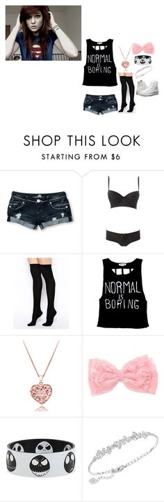 """""""Ootd. ~Rose"""" by winter-an0ns ❤ liked on Polyvore featuring Almost Famous, Charlotte Russe, ASOS, Swarovski and Converse"""