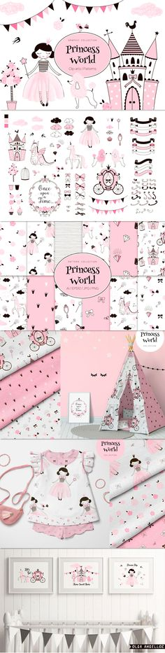 Princess World themed vector creation kit with fairy cartoon girlish Cliparts and Patterns. Dragon Pattern, Unicorn Pattern, Doll Drawing, Pink Castle, Crown Pattern, Pet Dragon, Pink Poodle, Cute Princess, Cute Dragons