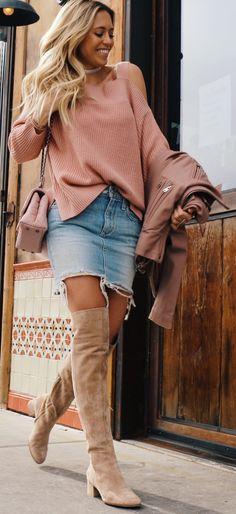 Pink Off Shoulder Knit / Denim Bleached Skirt / Camel Velvet OTK Boots                                                                             Source