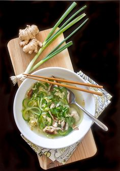Here's a light, healthy and delicious recipe for Egg Drop Soup with Zoodles (zucchini noodles) and shiitake mushrooms. You'll love it!