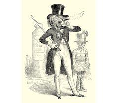 Fancy Dandy Lion Grandville Animal Art Print  5 by RadioRoadPress, $6.00