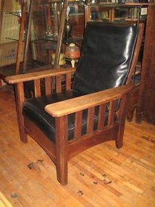 Antique Mission Oak Morris Chair Leather Rocker Recliner W/ Built In Foot  Stool | Foot Stools, Recliner And Antique Furniture