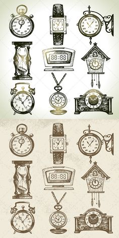 Clock and Watch Set  #GraphicRiver         Set of hand drawn vintage ?lock and watch illustrations: stopwatch, wrist watch, street clock, hourglass, digital clock, cuckoo clock, alarm clock, retro clock with chain, vintage watch.