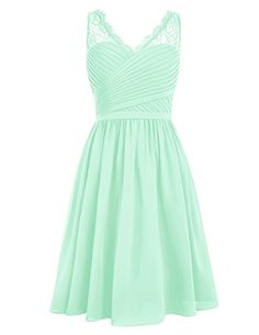 Dresstells Short Homecoming Dress Vneck Ruched Chiffon Bridesmaid Prom Dress Mint Size 4 * Find out more about the great product at the image link.
