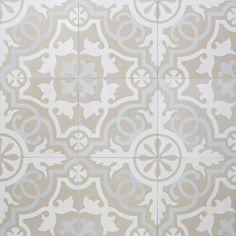 Maybe this more neutral tile instead of the higher contrast floor tile in the one bathroom example Sabine Hill Cement Tile Sevilla Bathroom Floor Tiles, Wall And Floor Tiles, Kitchen Tiles, Küchen Design, House Design, Mediterranean Tile, Tiles For Sale, Encaustic Tile, Concrete Tiles