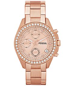 Fossil Watch, Women's Chronograph Decker Rose Gold-Tone Stainless Steel Bracelet 38mm ES3352 - Women's Watches - Jewelry & Watches - Macy's