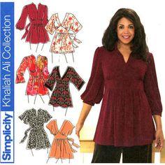 Plus Size Tunics Pattern Uncut Bust 48 - 54 Simplicity 3697 Khaliah Ali, Empire Waist Tunics, Kimono Sleeve Tunics, Womens Sewing Patterns
