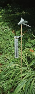 Bring a touch of decorative charm and functionality to your garden or flower bed with this cast iron Dragonfly Rain Gauge. The rain gauge features a cast iron jointed stake and durable plastic measuring vial marked in both inches and centimeters. Complete unit measures over 2 feet tall.