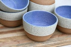 rustic cereal bowl matte blue white speckled by earthformsbymarie