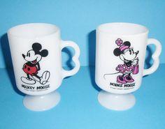 Walt Disney Mickey and Minnie Mouse White Glass Pedestal Mug