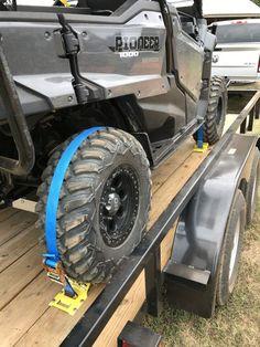Erickson ATV E-Track Tie-Down Kit w/ Ratchet Straps and Wheel Chocks - lbs Erickson Tie Down Straps Argo Atv, Jet Ski Trailer, Utv Trailers, Ford F150 Accessories, Atv Winch, Honda Pioneer 1000, Polaris Ranger Crew, Trailer Plans, Utility Trailer