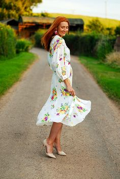 Vintage floral wrapover midi dress #summer by Not Dressed As Lamb, via Flickr. By @notlamb
