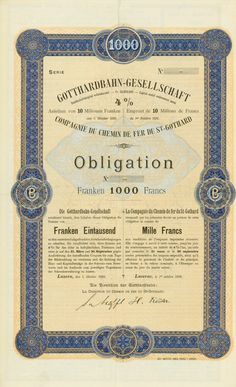 Gotthardbahn-Gesellschaft / Compagnie du Chemin de Fer du St-Gothard, Luzern, 01.10.1899, Blankett einer 4 % Obligation über 1.000 Franken, o. Nr., 40,1 x 24,2 cm, blau, orange-braun, türkis, schwarz, KB, Knickfalten, lochentwertet.