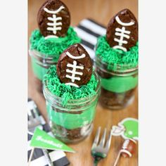 Mason Jar Football Brownie Treats