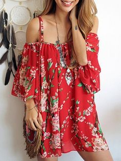 Red,Spaghetti Strap,Sakura,Floral Print,Blouse,Off Shoulder