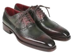 Paul Parkman Goodyear Welted Oxfords Brown & Green Shoes (ID Designer Clothes For Men, Designer Shoes, Mens High Boots, Gq Fashion, Brown Oxfords, Painting Leather, Goodyear Welt, Green Shoes, Leather Men