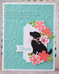 Aggie's Thank You - Stampin' Up! Thoughtful Blooms (Did You Stamp Today? Christmas Thank You, Christmas Cards, Pet Sympathy Cards, Dog Cards, Cards Diy, Kids Cards, Stamping Up Cards, Stamp Making, Animal Cards