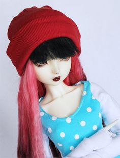 SD clothes BJD Red slouchy beanie MonstroDesigns by MonstroDesigns