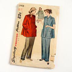 Vintage 1940s Womens Maternity Size 16 Slack Suit Simplicity
