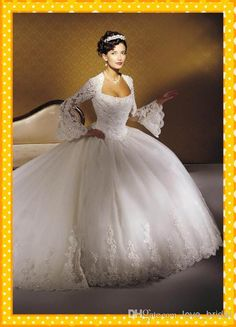 Wholesale Ball Gown Wedding Dresses - Buy 2013 Vintage Plus Size Ball Gown Crystal Beads Lace Appliques Long Sleeves Puffy Skirt Wedding Dresses Bridal Party Gown, $186.13   DHgate