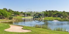 """Wall Mural """"golf, course, lake - sports golf park in portugal. near lake and fountain."""" ✓ Easy Installation ✓ 365 Day Money Back Guarantee ✓ Browse other patterns from this collection!"""