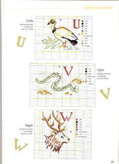 Cross stitch letters with animals - free cross stitch patterns crochet knitting amigurumi Cross Stitch Alphabet Patterns, Embroidery Alphabet, Cross Stitch Letters, Cross Stitch Bird, Cross Stitch Animals, Embroidery Fonts, Cross Stitching, Cross Stitch Embroidery, Embroidery Patterns