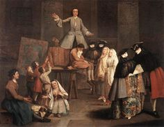 The Tooth Extractor - Artist: Pietro Longhi  Style: Rococo  Genre: genre painting  Technique: oil  Material: canvas  Dimensions: 50 x 62 cm  Gallery: Pinacoteca di Brera, Milan, Italy  Tags: arts-and-crafts, disease-and-treatment, masks-and-fans