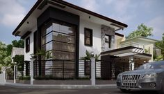 This modern house is located in Philippines and offers a spectacular blend of luxurious home interiors and gorgeous outdoor living spaces. Image Via: Home Design Two Storey House Plans, Double Storey House, My House Plans, Modern Home Interior Design, Dream Home Design, Modern House Design, Two Story House Design, 2 Storey House Design, Model House Plan