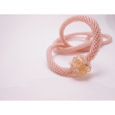 Blush pink crochet rope necklace Romantic necklace Crochet rope with... (€39) ❤ liked on Polyvore featuring jewelry, necklaces, swarovski crystal ball necklace, macrame jewelry, pink necklace, crystal ball necklace and spiral necklace
