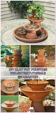 DIY TerraCotta Clay Pot Fountain Projects Tutorials Source by Diy Garden Fountains, Tabletop Water Fountain, Diy Fountain, Indoor Water Fountains, Diy Water Feature, Clay Pot Crafts, Shell Crafts, Clay Pot Projects, Clay Pots
