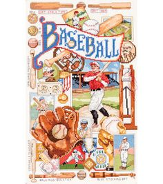 "Bucilla Counted Cross Stitch Kit-Baseball Nostalgia-9""x15"""