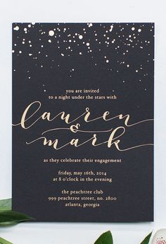 "Brides: Modern Calligraphed Invite with Gold Details. ""Let The Stars Watch"" calligraphed wedding invitation with gold foil details, $390 for 100 invitations, Ashley Buzzy Lettering + Press"