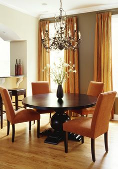 Warm Brown Walls Accent Fall Decor For An Oh So Seasonable Dining Room.