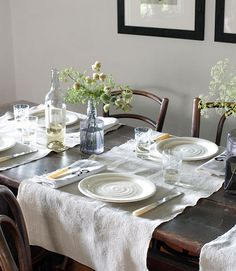Via Brown Dress with White Dots {white rustic vintage modern dining room}