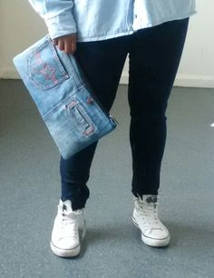 recycled denim jeans clutch bag by reloveduk