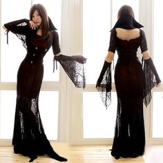 Witch Halloween costume witch costume gothic banshee queen spider black vampire dress costumes #dhgatePin