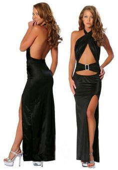 Sexy Satin Bare Back Long Gown - House of Sash Lingerie