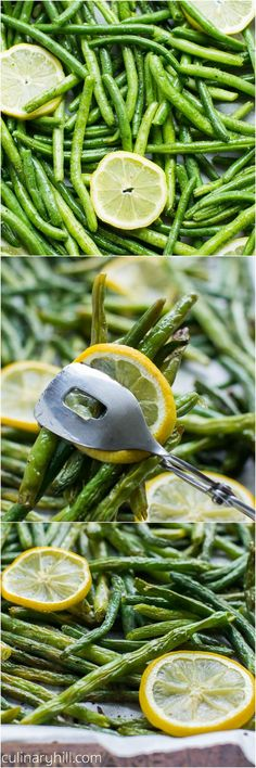 Oven Roasted Green Beans: Fresh green beans are flavored with lemon and garlic, then roasted to crisp-tender perfection! A fresh and easy side dish for perfect dinner and entertaining. Naturally vegan and gluten free. #Green_Beans #Oven_Roasted #Health