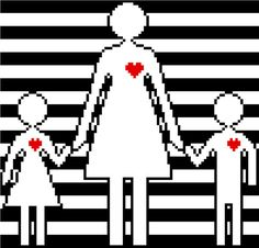 Retro cross stitch pattern of mum and kids. by crossstitchtheline. Modern minimalist design for Mother's Day.