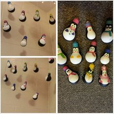 use light bulbs to make adorable penguins. acrylics paint works perfectly. we then used wire to attach the penguins and hang them from the wall.