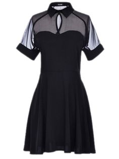 Shirt Dress With Sheer Mesh Panel #black  #style #fashion
