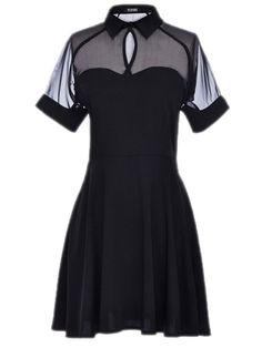 Shirt Dress With Sheer Mesh Panel #black  #style #fashion