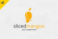 Sliced Mango Logo Template by Kennarock on Creative Market Logo Design Template, Custom Logo Design, Custom Logos, Logo Templates, Mango Logo, Business Brochure, Business Card Logo, Business Card Design, Fruit Logo