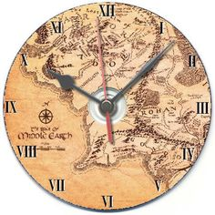 Lord of the rings lotr middle earth map cd clock birthday or christmas gift idea | eBay - This is a cool idea.
