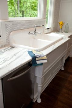 Antique kitchen sink 1920's enameled cast iron sink Landmarkbuildersllc.biz