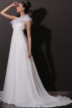 Feathers Accented One Shoulder Empire Chiffon Beach Wedding Dress