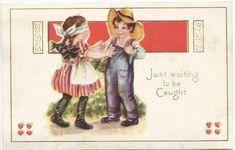 Girl Blindfolded Walking Towards Boy in Denim Overalls and Straw Hat  #VintagePostcard #vintage #postcard #valentinesday #valentine #valentinesdaygift #ephemera #vintageephemera #collectibles #vintagevelentine #butterflysPin #etsy  #etsyseller